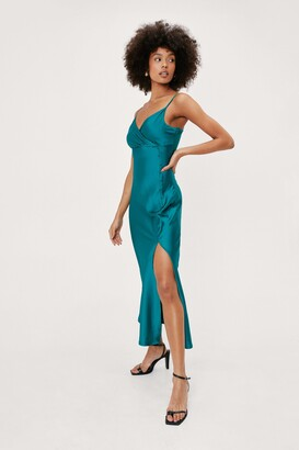 Nasty Gal Womens Wrap Front Button Down Midi Slip Dress