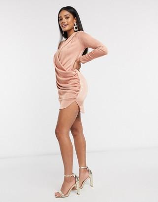 Flounce London Club drape plunge dress in blush pink