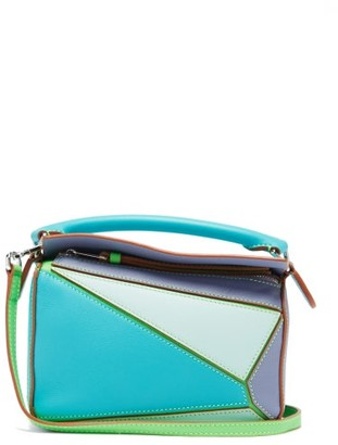 Loewe Paula's Ibiza - Puzzle Mini Leather Cross-body Bag - Blue Multi