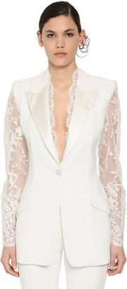 Alexander McQueen Leaf Crepe & Lace Blazer Jacket