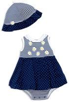 Little Me Girls' Striped Daisy Dress & Hat Set - Baby