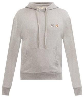 MAISON KITSUNÉ Double Fox Head-patch Cotton Hooded Sweatshirt - Grey