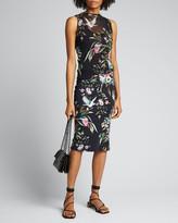 Fuzzi Bouquet Print Sleeveless Tulle Jersey Mix Dress