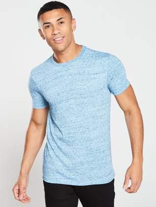 Very Basic Textured Crew Neck T-Shirt - Blue