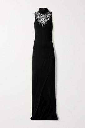 Balmain Crystal-embellished Stretch-jersey Turtleneck Gown - Black