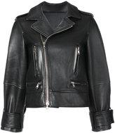 Oscar de la Renta cropped sleeve biker jacket