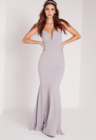 Missguided Scuba Bandeau Fishtail Maxi Dress Grey