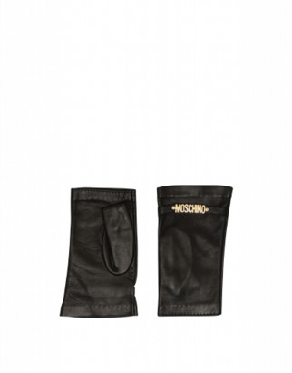 Moschino Fingerless Leather Gloves With Mini Lettering Logo Woman Black Size 7.5