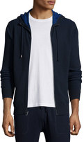 Michael Kors Waffle-Knit Hooded Zip Sweater, Navy