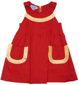 Mimisol Cotton Satin Dress W/ Raffia Details