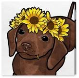 Oliver Gal Flower Puppy Canvas Wall Art