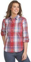 petites easy-care crinkle plaid shirt
