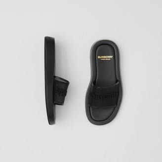 Burberry Embroidered Logo Mesh and Leather Slides