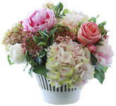 "Winward Silks 18"" Hydrangea & Rose in Vase - Faux"