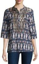 Figue Jasmine Half-Sleeve Ikat-Print Silk Blouse, Bora Bora