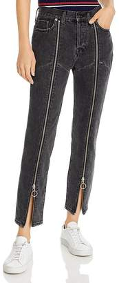 Pistola Denim Nico High-Rise Zip Straight-Leg Jeans in Charcoal