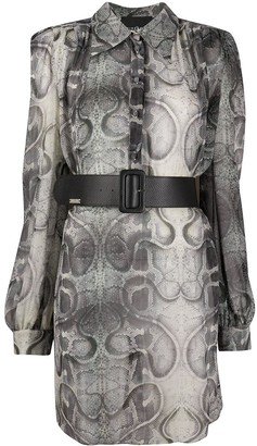 John Richmond Snakeskin Print Shirt Dress