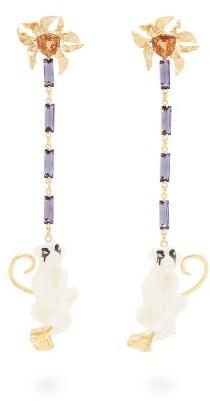 Valentino Crystal-embellished Monkey Drop Earrings - White Multi