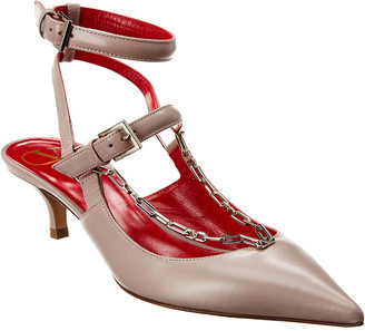 Valentino Chain 45 Leather Ankle Strap Pump