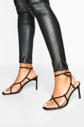 boohoo Strappy Square Toe Heel Sandals