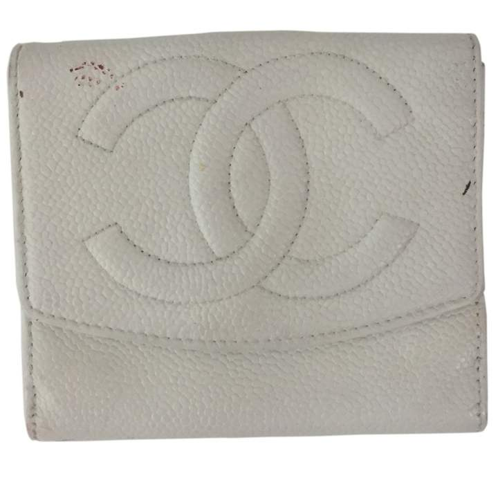 Chanel White Leather Wallets