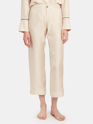 ASCENO The Antibes High Rise Silk Twill Pant
