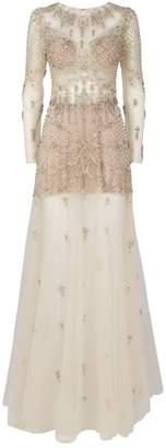 Jovani Crystal-Embellished Sheer Gown