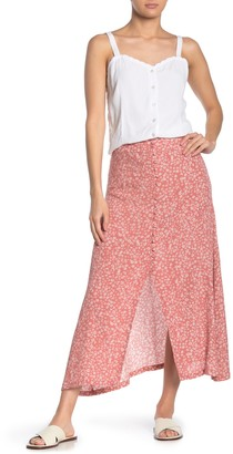 Cotton On Summer Floral Button Front Midi Skirt