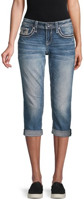 Vigoss Contrast Stitch Cropped Jeans