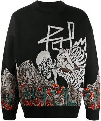 Palm Angels Patterned Intarsia-Knit Sweatshirt
