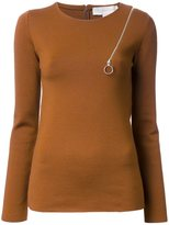 Stella McCartney zip shoulder detail jumper - women - Polyamide/Spandex/Elastane/Wool - 42