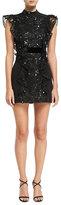 J. Mendel Sequined Lace Open-Back Dress, Black