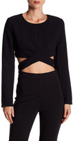 Do & Be Do + Be Cropped Long Sleeve Wrap Tie Shirt