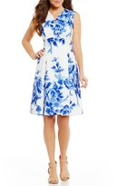 London Times Floral Print Fit-and-Flare Dress