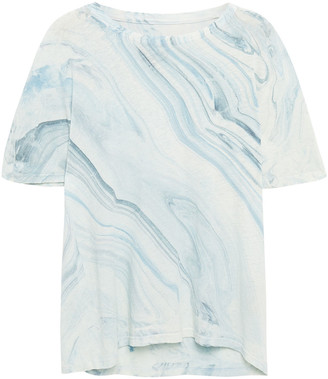 Raquel Allegra Printed Linen And Cotton-blend T-shirt