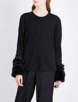 Noir Kei Ninomiya Faux fur-trim wool top