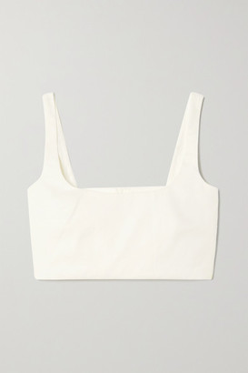 ANNA QUAN Addy Cropped Linen-blend Top - Ivory