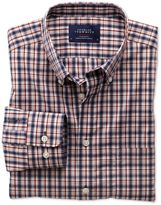 Classic Fit Non-iron Poplin Blue And Orange Check Cotton Shirt Single Cuff Size Large By Charles Tyrwhitt