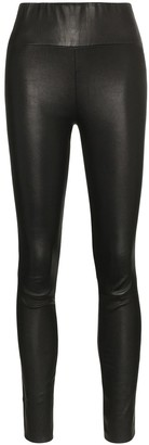 Sprwmn Black High Waisted Leather Leggings