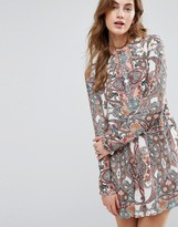 Vila Paisley Print Long Sleeve Shift Dress