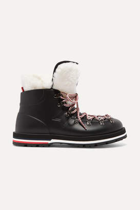 Moncler Inaya Shearling-trimmed Rubber Ankle Boots - Black