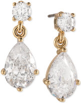 Carolee Gold-Tone Teardrop Glass Drop Earrings