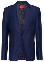 HUGO BOSS - Slim Fit Jacket In Wool And Linen - Dark Blue