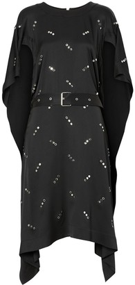 Burberry Cut-out Sleeve Embellished Silk Satin Dress