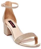 Betseyville by Betsey Johnson Women's Honey Glitter Mesh Block Heel Sandals