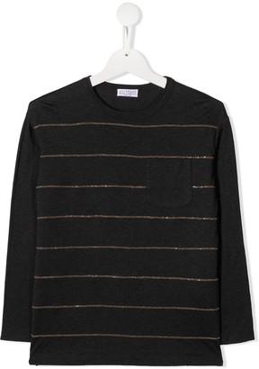 BRUNELLO CUCINELLI KIDS Sequin-Striped Longsleeved Top