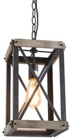 Cormier 1-Light Single Rectangle Pendant with Wrought Iron Accents Williston Forge