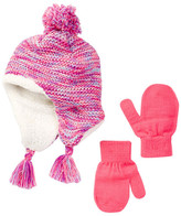 Capelli of New York Spacedye Faux Fur Lined Knit Beanie & Mittens Set