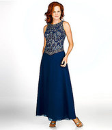 J Kara Petite Sleeveless Beaded Bodice Gown