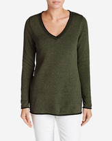 Eddie Bauer Women's Sweatshirt Sweater - Solid V-Neck